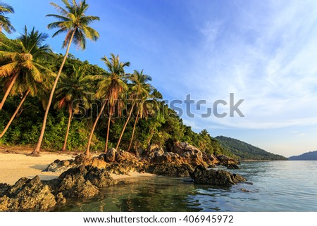 Gorgeous Taling Ngam Beach at evening, in Samui, Thailand - stock photo