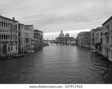Gorgeous view of Grand Canal and Basilica Santa Maria della Salute in the evening Venice, Italy,black and white tone - stock photo