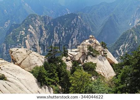 Gorgeous views of the chess pavilion in the mountains Huashan Mountain, China - stock photo