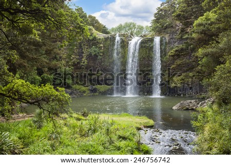 Gorgeous Waterfall in New Zealand - stock photo