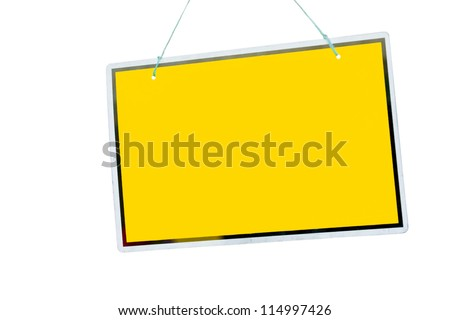 gorgeous yellow sign hanging isolated on a white background (copy-space available for design) - stock photo