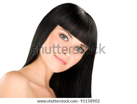 gorgeous young caucasian brunette posing, space for copy - stock photo