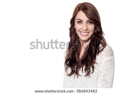 Gorgeous young woman posing with cute smile