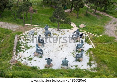 GORI. GEORGIA - May 28, 2010: Memorial of Georgian Warriors. History of many wars left many scars in souls of people of this small nation. - stock photo