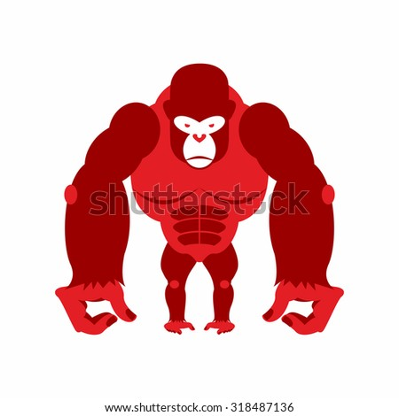Gorilla big and scary. Strong red Angry monkey. Illustration animal on a white background.  - stock photo