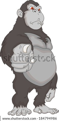 gorilla cartoon - stock photo