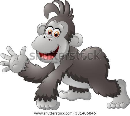 Gorilla cartoon illustration - stock photo