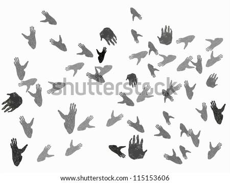 Gorilla paw prints background - stock photo