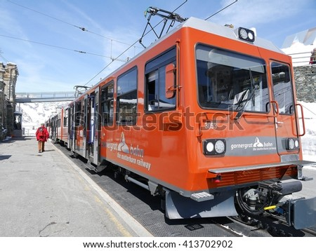 GORNERGRAT BAHN , SWITZERLAND - APRIL 10: The cogwheel train from Zermatt to the Gornergrat. It starts at an altitude of 1605 m and ends at 3090 m. April 10, 2016 Gornergrat, Switzerland  - stock photo