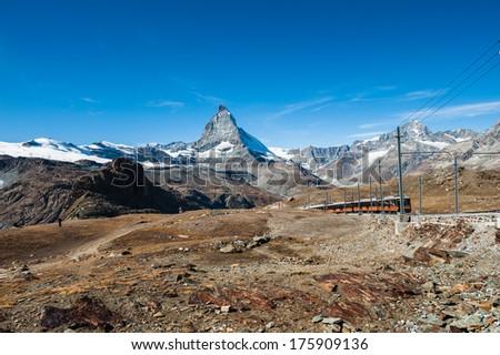 Gornergrat train and Matterhorn, Switzerland - stock photo