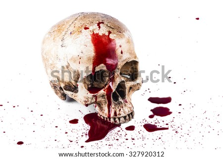 Gory Halloween skull - stock photo