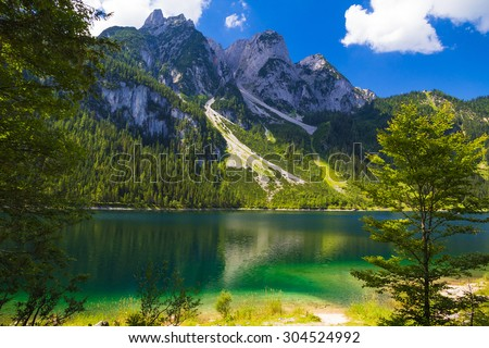 Gosaukamm with Gosausee lake, Alps, Austria