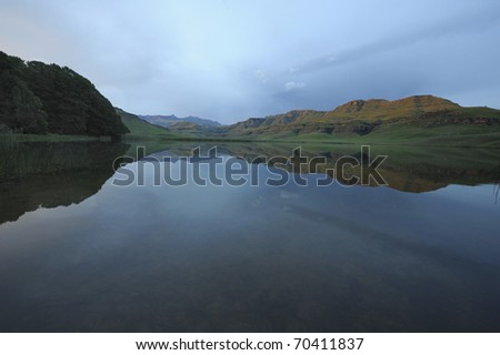 goschen lake, giant's cup wilderness reserve, southern drakensberg, kwazulu natal, south africa - stock photo