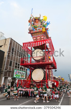 GOSHOGAWARA,JAPAN - AUGUST 6 : The standing float of Goshogawara Tachi Neputa  festival on August 6 , 2015 in Goshogawara, Japan. This is summer festival, held every year from August 4 to 8.