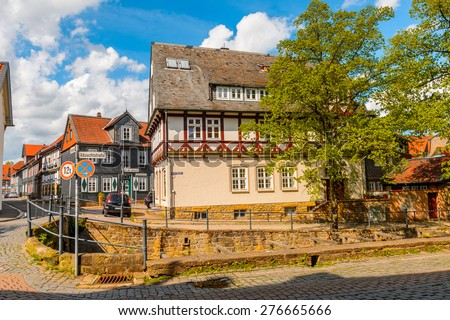 GOSLAR, GERMANY - MAY 4, 2015: Architecture in the historic Town of Goslar. Goslar Historic Town is a UNESCO World Heritage site