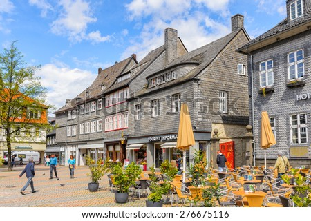 GOSLAR, GERMANY - MAY 4, 2015: Architecture of the main square in the historic Town of Goslar. Goslar Historic Town is a UNESCO World Heritage site