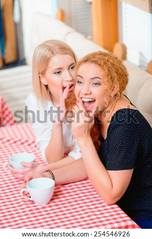 Gossip and girl talk. Two beautiful young women gossiping and laughing while sitting and drinking coffee in the cafe  - stock photo