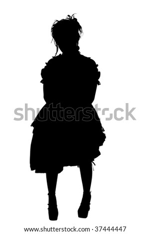 Gosurori Fashion Silhouette with Clipping Path over white. - stock photo