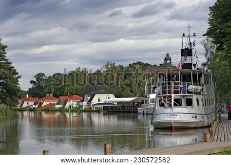 GOTALAND, SWEDEN - AUGUST 24: The Gota Canal is a waterway with Length of 190.5 kilometers and 58 smuggles by the Swedish part of the country Gotaland, Sweden on August 24, 2010