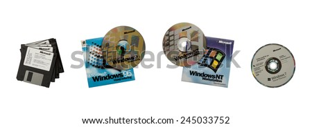 Goteborg, Sweden - Jan 17, 2015: Some of Microsoft's previous versions of the Windows operating system in the form of the floppy disk to optical media. Windows is the most widely used OS worldwide.  - stock photo