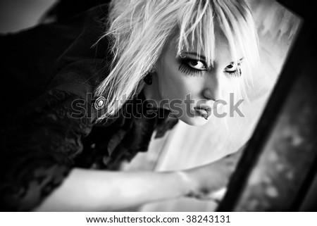 Goth woman portrait. Black and white. - stock photo