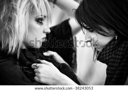 Goth women portrait. Black and white. - stock photo