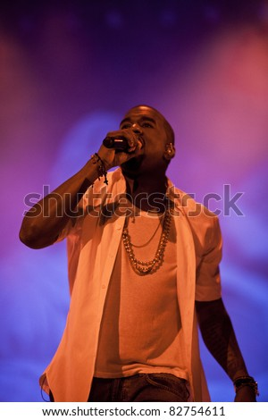 GOTHENBURG, SWEDEN - AUGUST 13: Kanye West performs at the Way Out West festival on August 13, 2011 in Gothenburg, Sweden. West was a festival headliner together with Prince, Pulp and the Fleet Foxes - stock photo