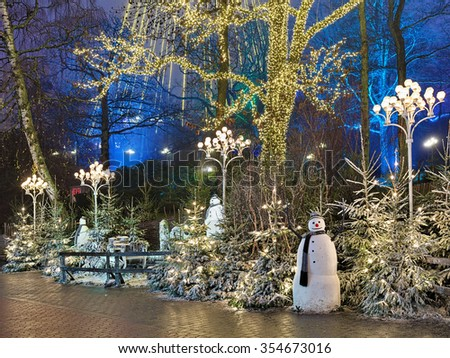 GOTHENBURG, SWEDEN - DECEMBER 17, 2015: Christmas installation with snowmans in Liseberg park. Liseberg is one of most visited amusement parks in Scandinavia and most famous Christmas Market of Sweden - stock photo