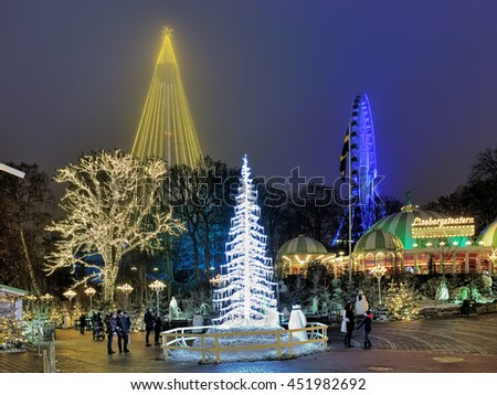 GOTHENBURG, SWEDEN - DECEMBER 17, 2015: Liseberg amusement park with Christmas decoration. It is one of the most visited amusement parks in Scandinavia and the most famous Christmas Market of Sweden. - stock photo