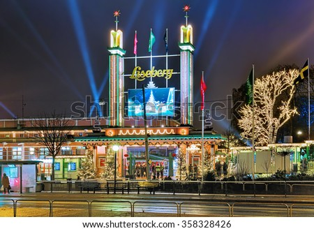 GOTHENBURG, SWEDEN - DECEMBER 17, 2015: Main entrance of Liseberg park with Christmas decoration. It is one of most visited amusement parks in Scandinavia and most famous Christmas Market of Sweden. - stock photo