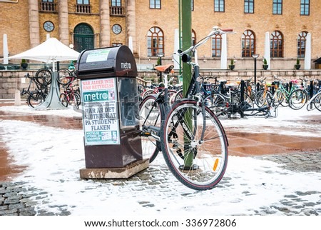 GOTHENBURG, SWEDEN - FEBRUARY 1: Bicycle parked at street lamp in Gothernburg on February 1, 2015