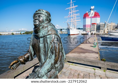 GOTHENBURG, SWEDEN - SEPTEMBER 4: The statue of poet Evert Taube on September 4, 2014 in Gothenburg.  Gothenburg is the second largest city in Sweden and an important harbor. - stock photo