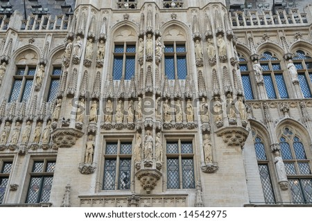 Gothic Architecture Details Of Grand Place In Brussels Belgium