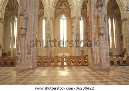 Gothic Architecture With Stone Columns In Church