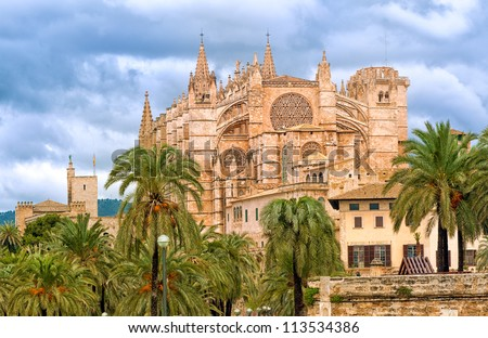 Gothic art Dome of Palma de Mallorca, Spain - stock photo