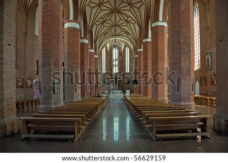 Gothic Basilica of Sts. Catherine in Braniewo, Poland. - stock photo