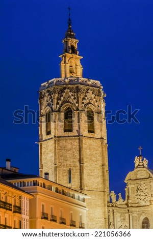 "Gothic bell tower ""El Miguelete"" (1381 - 1429) at night. Valencia, Spain. Miguelete Tower is steeple of Saint Mary's Cathedral. It is known as The Tower Micalet Miguelete or Valencian.  - stock photo"
