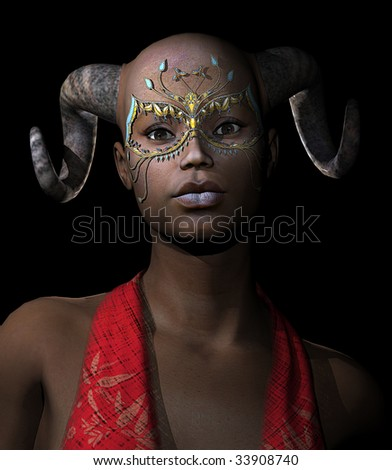 Gothic Black woman wearing Mardi Gras mask and demon horns - stock photo
