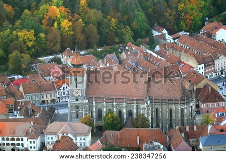 Gothic building of the Black Church (Biserica Neagra) in old town of Brasov, Romania - stock photo