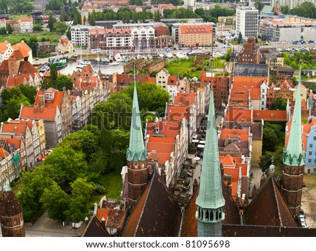 Gothic buildings in old town , Gdansk, Poland - stock photo