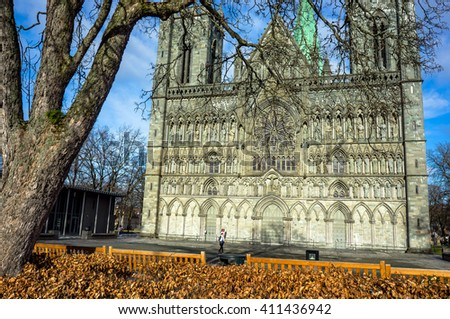 Gothic cathedral in Trondheim. Norway