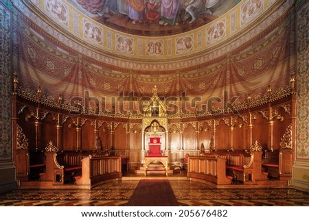 Gothic cathedral interior at night - stock photo