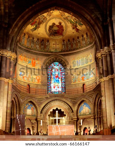 Gothic cathedral interior in France - stock photo
