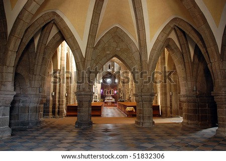 Gothic cathedral interior with altar in Trebic, Czech Republic - stock photo