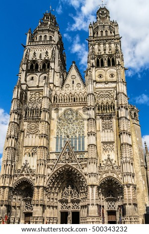 Gothic cathedral of Saint Gatien  in Tours, Loire Valley, France.