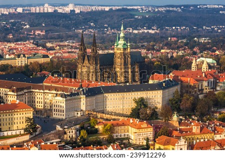Gothic cathedral over old town (st. Vitus, Prague) - stock photo
