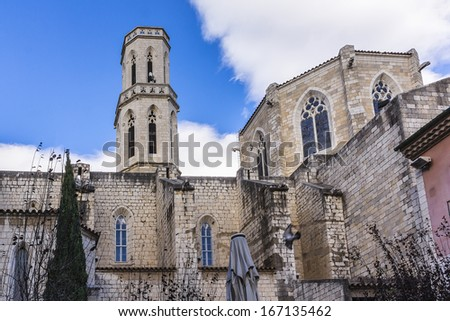 Gothic Church of Saint Peter near Dali's Theatre - Museum building in Figueres, Catalonia, Spain. This is Cathedral in which in 1904 young Dali christened. - stock photo