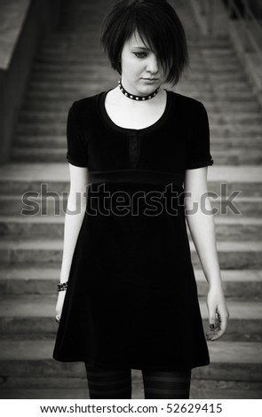 gothic girl - stock photo