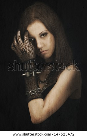 gothic girl, vintage portrait on old paper background