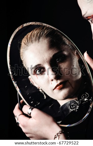 gothic girl with the mirror